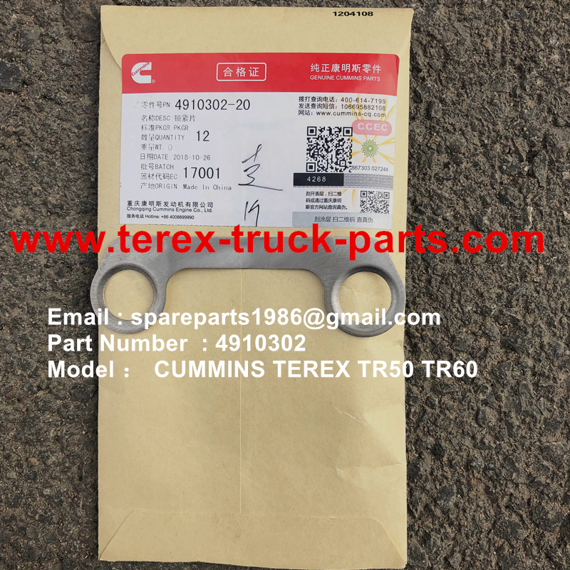 TEREX OFF HIGHWAY MINING RIGID DUMP TRUCK HAULER NHL CUMMINS ENGINE TR60 TR70 TR100 4910302 LOCK PLATE