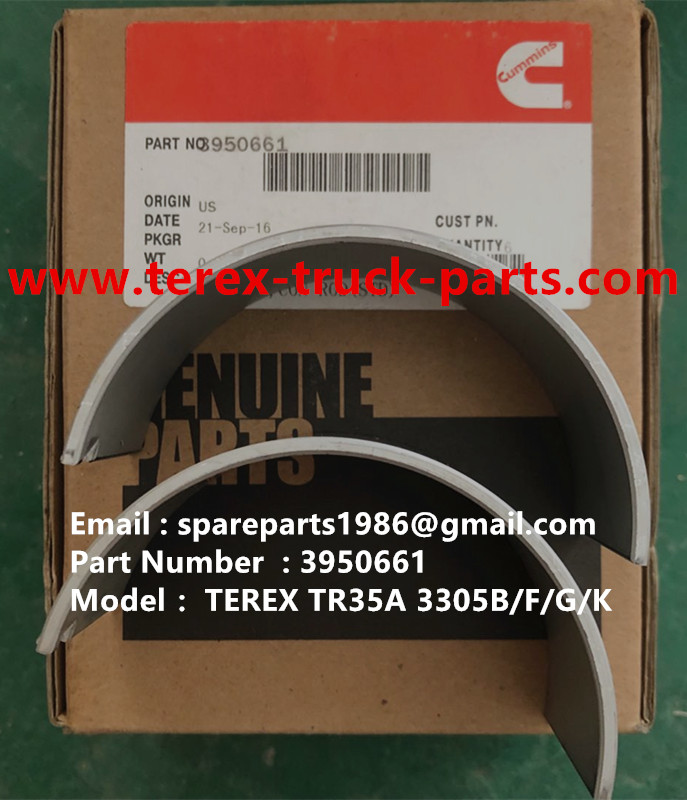 TEREX RIGID DUMP TRUCK HAULER OFF HIGHWAY TRUCK HAULER ALLISON TRANSMISSION TR35A 3305F 3305G 3305K 3305B CUMMINS ENGINE 3950661 CONNECTING ROD BEARING